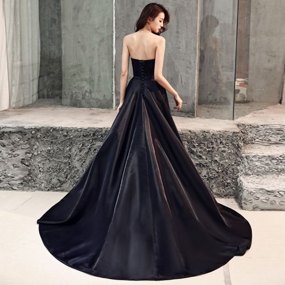 Elegant Black Satin Evening Dresses  2019 A-Line / Princess Sweetheart Sleeveless Beading Bow Sash Sweep Train Ruffle Backless Formal Dresses