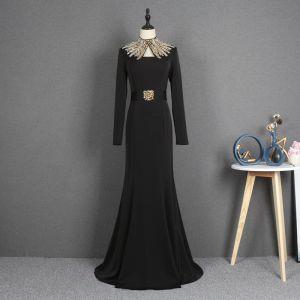 Mode Sorte Selskabskjoler 2021 Havfrue Høj Hals Langærmet Rhinestone Bælte Feje tog Flæse Kjoler