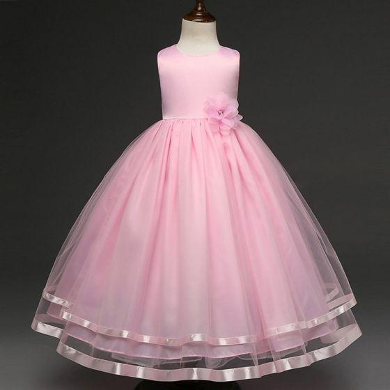 Mooie / Prachtige Candy Roze Bloemenmeisjes Jurken 2017 A lijn U-hals Appliques Kanten Vlinder Huwelijk