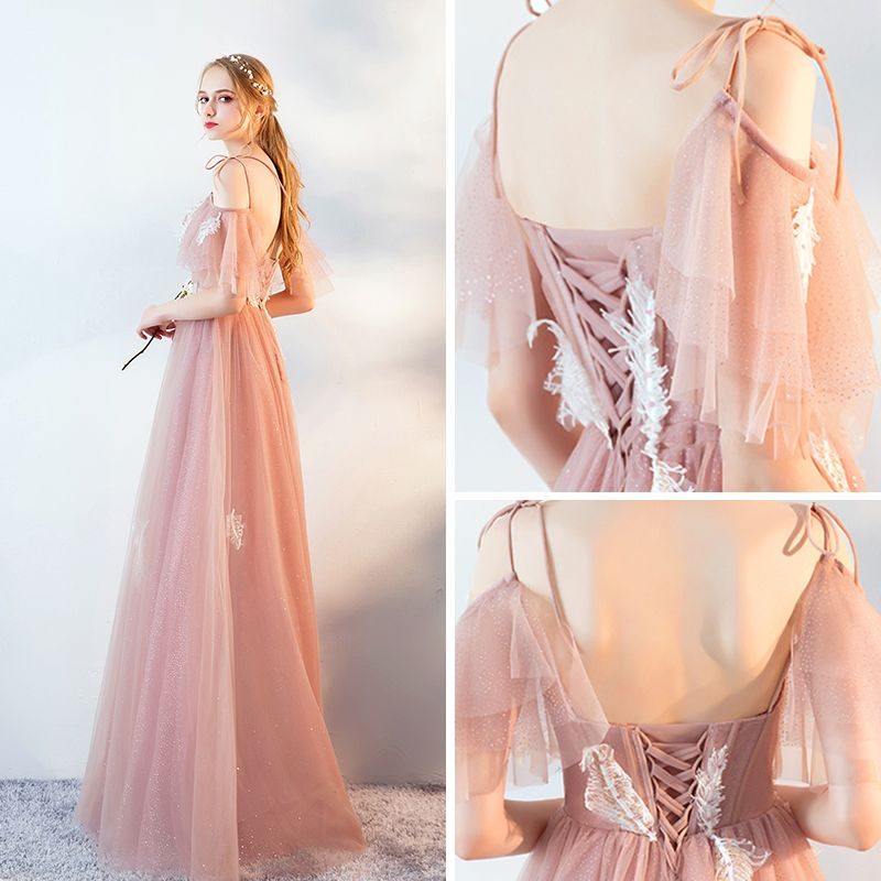 Elegant Pearl Pink Evening Dresses  2019 A-Line / Princess Spaghetti Straps Short Sleeve Appliques Lace Glitter Tulle Floor-Length / Long Ruffle Backless Formal Dresses
