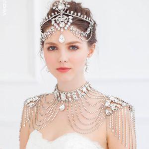 Quaste Diamond Schulter Kette Schmuck / Hochzeitshalskette / Braut Ohrringe Dreiteilige