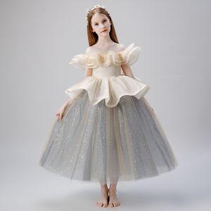 Elegant Champagne Grey Flower Girl Dresses 2019 Ball Gown See-through Scoop Neck Short Sleeve Glitter Tulle Floor-Length / Long Ruffle Wedding Party Dresses