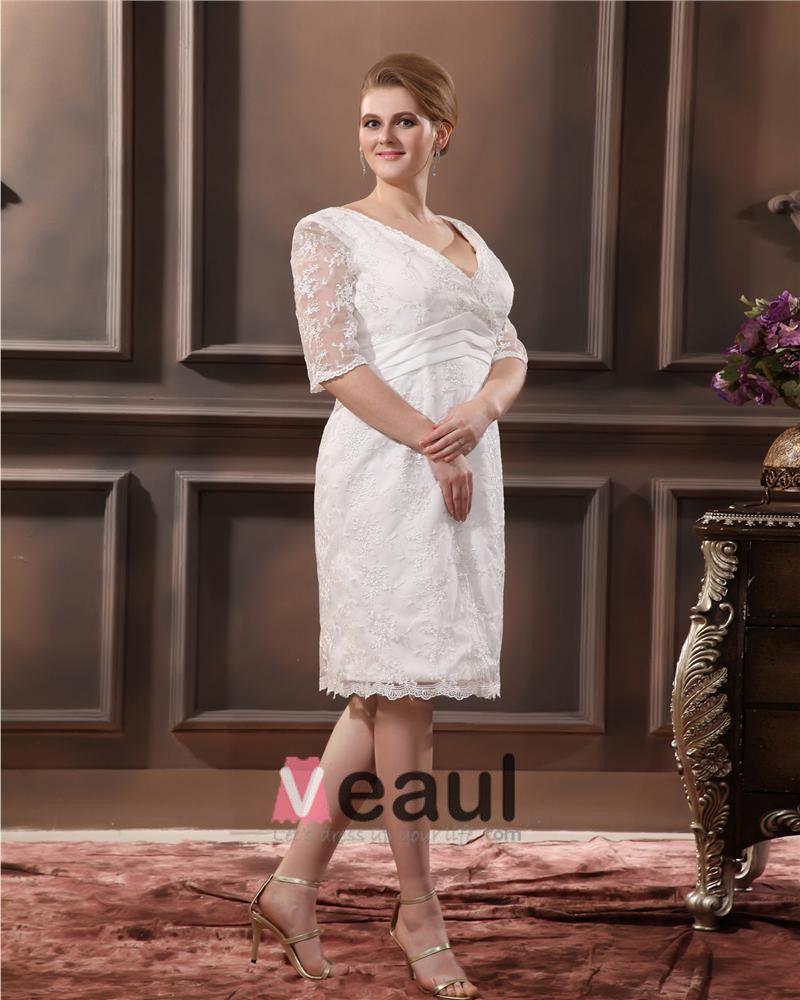 Spitze V-ausschnitt Hülse Mit Drei Vierteln Brautkleider Große Größen Brautkleider