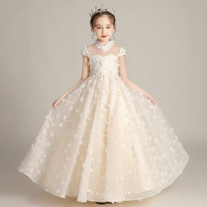 Flower Fairy Champagne Birthday Flower Girl Dresses 2020 A-Line / Princess See-through High Neck Short Sleeve Appliques Flower Beading Floor-Length / Long Ruffle