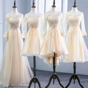 Chic / Beautiful Champagne Pierced Bridesmaid Dresses 2018 A-Line / Princess Scoop Neck Long Sleeve Appliques Lace Sash Ruffle Backless Wedding Party Dresses