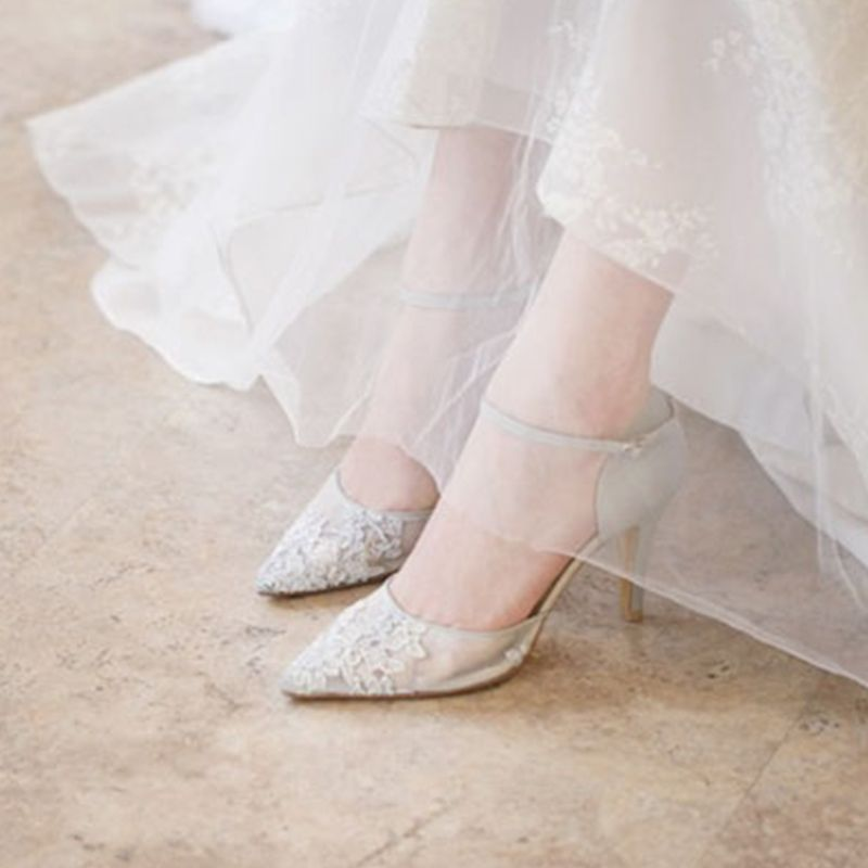 Chic / Beautiful Pearl Pink See-through Wedding Shoes 2019 Leather Rhinestone Ankle Strap 8 cm Stiletto Heels Pointed Toe Wedding High Heels