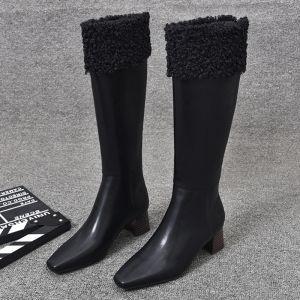 Mooie / Prachtige Winter Zwarte Straatkleding Dames Laarzen 2020 Leer 5 cm Dikke Hak Vierkante Teen Laarzen