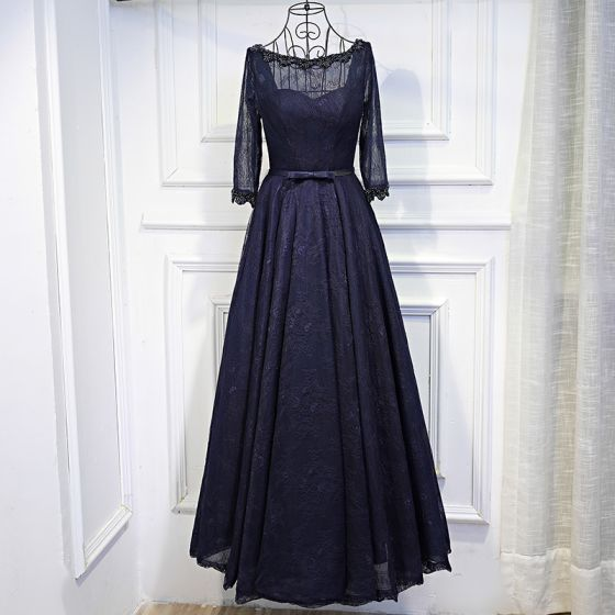 Chic / Beautiful Navy Blue Formal Dresses 2017 Lace Flower Sequins Bow Scoop Neck 3/4 Sleeve Ankle Length A-Line / Princess Evening Dresses