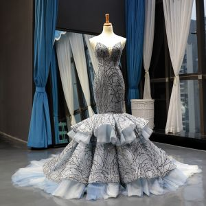Fabulous Grey Red Carpet Evening Dresses  2020 Trumpet / Mermaid Sweetheart Sleeveless Sequins Beading Chapel Train Ruffle Backless Formal Dresses