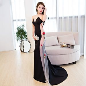 Sexy Black Summer See-through Evening Dresses  2019 Trumpet / Mermaid Sweetheart Sleeveless Flower Appliques Lace Sweep Train Formal Dresses