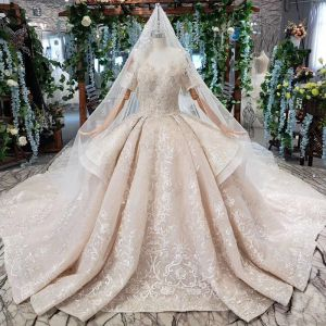 Chic / Beautiful Bling Bling Champagne Ball Gown Wedding Dresses 2020 Off-The-Shoulder Cap Sleeves Handmade  3D Lace Backless Beading Crystal Sequins Cathedral Train Wedding