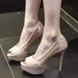 Chic / Belle Champagne Transparentes Soirée Chaussures Femmes 2019 Cuir 12 cm Talons Aiguilles Peep Toes / Bout Ouvert Talons Hauts