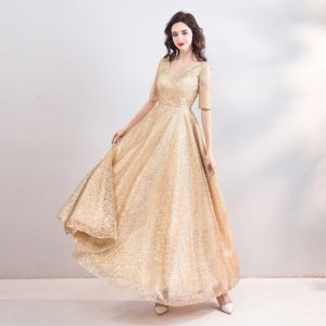 Sparkly Bling Bling Gold Floor-Length / Long Evening Dresses  2018 A-Line / Princess V-Neck Tulle Backless Beading Sequins Evening Party Formal Dresses