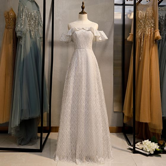 Sparkly Silver Grey Glitter Evening Dresses  2020 A-Line / Princess Scoop Neck Sequins Short Sleeve Floor-Length / Long Formal Dresses