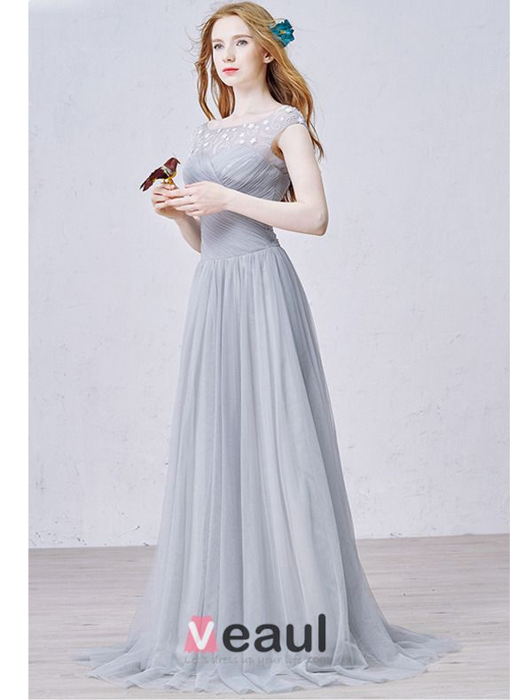 2015 A-line Lace Square Neckline Beading Ruffle Grey Tulle Evening Dress
