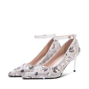 Mooie / Prachtige Zilveren Bruidsschoenen 2020 Enkelband Pailletten 7 cm Naaldhakken / Stiletto Spitse Neus Huwelijk Pumps