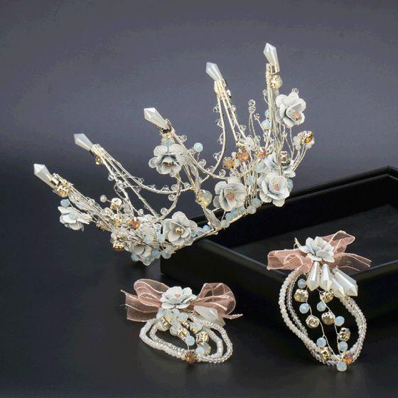 Blumenfee Silber Seidenblume Diadem Ohrringe Brautschmuck 2020 Legierung Kristall Perlenstickerei Hochzeit Brautaccessoires