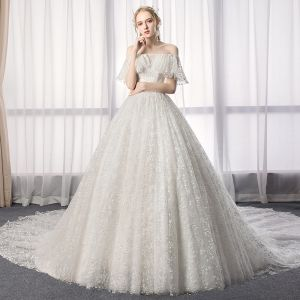Charming Ivory Wedding Dresses 2019 A-Line / Princess Off-The-Shoulder Lace Flower Short Sleeve Backless Cathedral Train