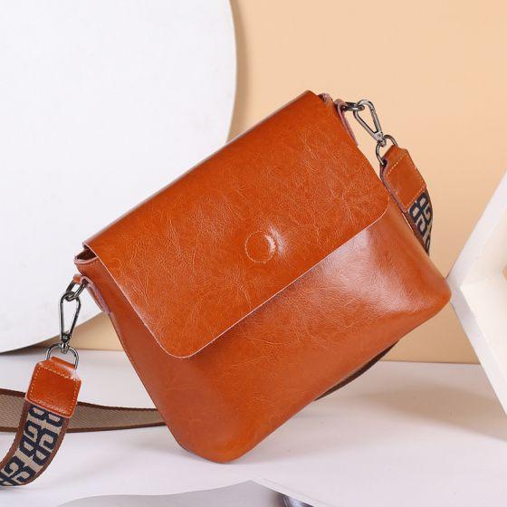Schlicht Braun Quadratische Umhängetaschen Umhängetasche 2021 Leder Freizeit Damentaschen