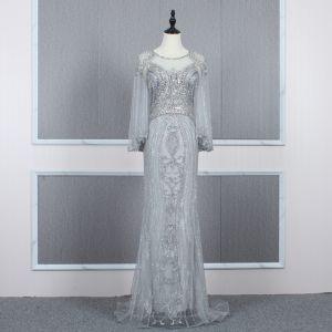 High-end Silver See-through Evening Dresses  2020 Trumpet / Mermaid Scoop Neck Bell sleeves Handmade  Beading Sweep Train Formal Dresses