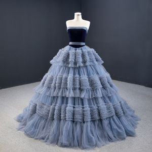 Luxury / Gorgeous Ocean Blue Prom Dresses 2020 Ball Gown Strapless Sleeveless Court Train Cascading Ruffles Backless Formal Dresses