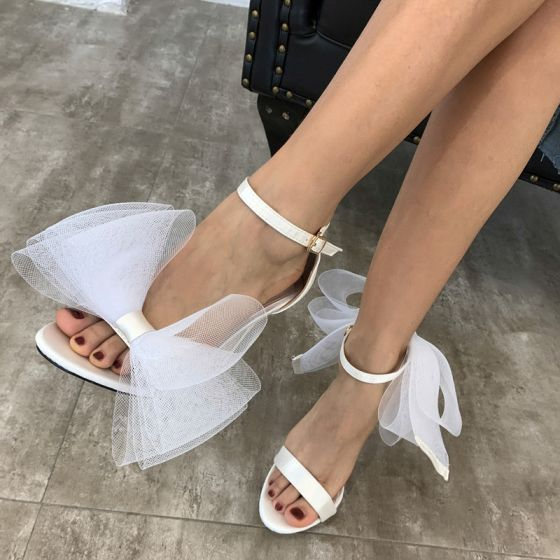 Chic / Beautiful White Bow Wedding Shoes 2020 Ankle Strap 10 cm Stiletto Heels Open / Peep Toe Wedding Sandals