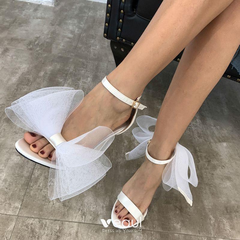 Beautiful White Bow Wedding Shoes 2020