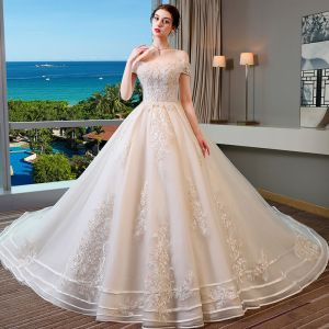 Chic / Beautiful Champagne Wedding Dresses 2019 A-Line / Princess Off-The-Shoulder Short Sleeve Backless Appliques Lace Beading Pearl Sequins Glitter Tulle Chapel Train Ruffle