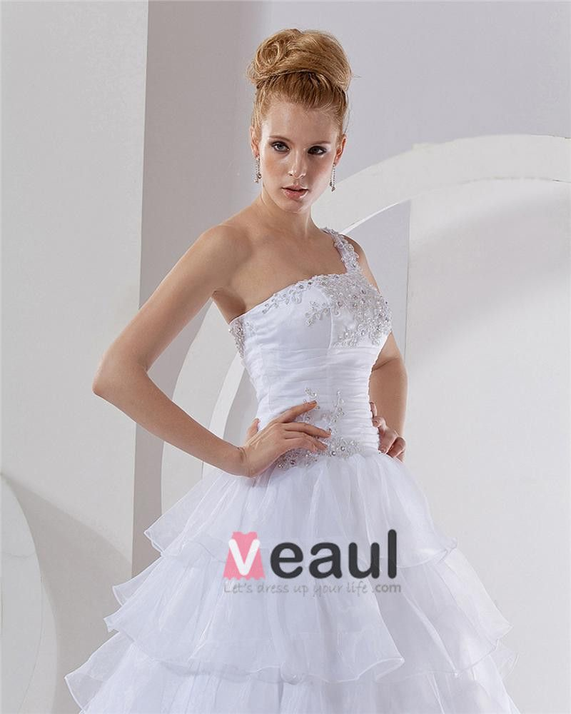 Organza Beading One Shoulder Chapel A-Line Bridal Gown Wedding Dresses