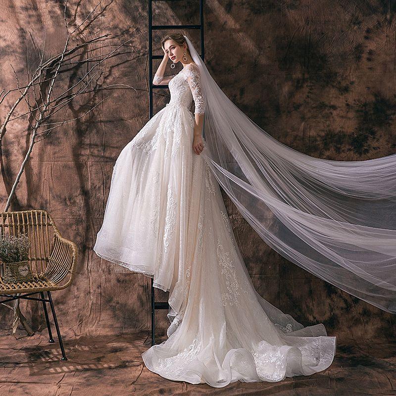Elegant Ivory Wedding Dresses 2019 A-Line / Princess Scoop Neck Sequins Lace Flower Tassel 3/4 Sleeve Backless Cathedral Train