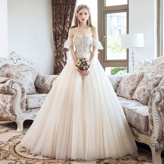 Chic / Beautiful Champagne Wedding Dresses 2018 A-Line / Princess Beading Crystal Pearl Rhinestone Strapless Backless Sleeveless Court Train Wedding
