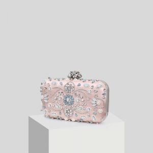 Chic / Beautiful Blushing Pink Beading Pearl Rhinestone Clutch Bags 2019