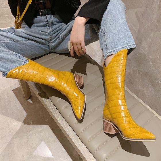 Flotte Gul Streetwear Støvler Dame 2021 Støvletter / Ankelstøvler 6 cm Tykke Hæle Spidse Tå Støvler