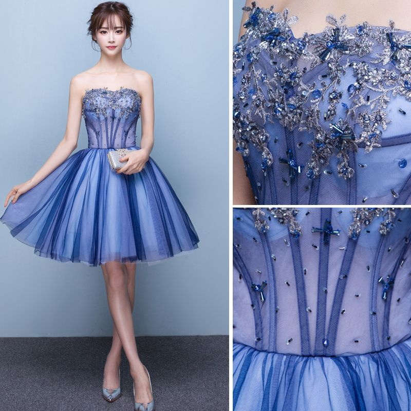 Sexy Ocean Blue Cocktail Dresses 2019 A-Line / Princess Strapless Beading Sequins Crystal Lace Flower Sleeveless Backless Short Formal Dresses