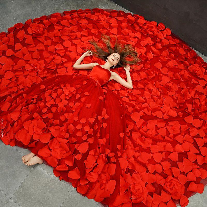 Fabulous Red Wedding Dresses 2019 A-Line / Princess Sweetheart Sleeveless Backless Appliques Flower Bow Sash Royal Train Ruffle