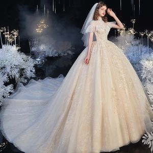 Audrey Hepburn Style Vintage / Retro Champagne See-through Bridal Wedding Dresses 2020 Ball Gown High Neck Short Sleeve Appliques Flower Beading Chapel Train Ruffle