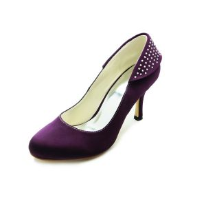 Classic Purple Bridal Shoes Stiletto Heels Satin Pumps With Rhinestone