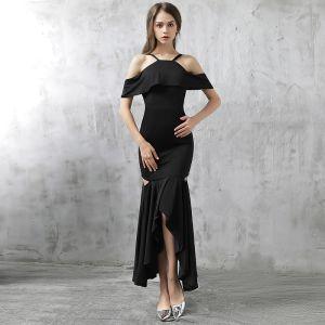 Mode Abendkleider 2017 Schwarz Asymmetrisch Mermaid Spaghettiträger Kurze Ärmel Rückenfreies Festliche Kleider