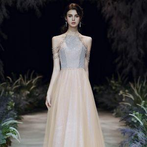 High End Gold Abendkleider 2020 A Linie Rundhalsausschnitt Ärmellos Perlenstickerei Glanz Tülle Lange Rückenfreies Festliche Kleider