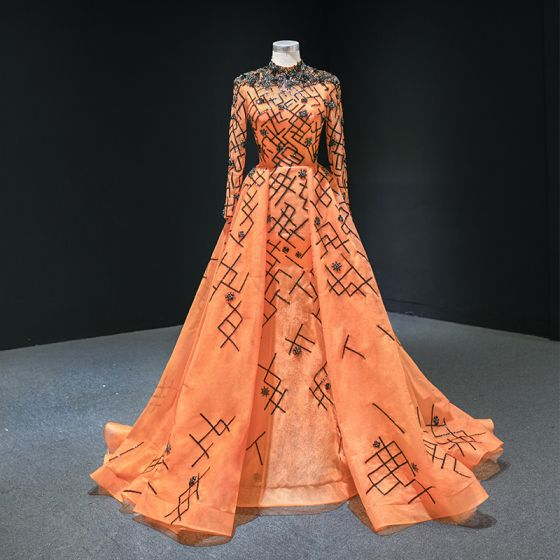 Luxe Orange Tapis rouge Robe De Soirée 2020 Princesse Col Haut Manches Longues Appliques Paillettes Perlage Train De Balayage Volants Robe De Ceremonie