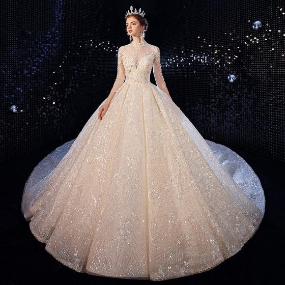 Luxury Gorgeous Champagne Wedding Dresses 2020 Ball Gown High Neck Sequins Lace Flower Appliques 3 4