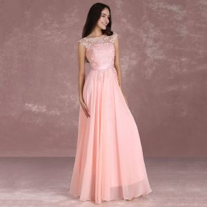 Modern / Fashion Pearl Pink Bridesmaid Dresses 2018 A-Line / Princess Scoop Neck Sleeveless Appliques Lace Sash Floor-Length / Long Backless Wedding Party Dresses