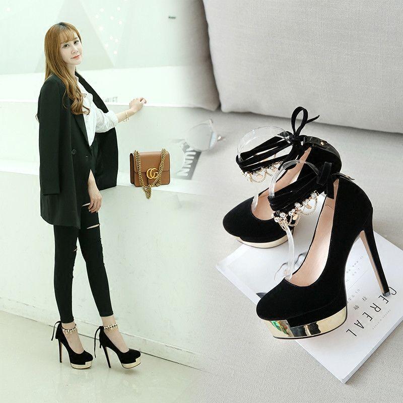 Sexy Black Womens Shoes 2018 Evening Party Metal Rhinestone Ankle Strap 13 cm Stiletto Heels Platform Round Toe Pumps