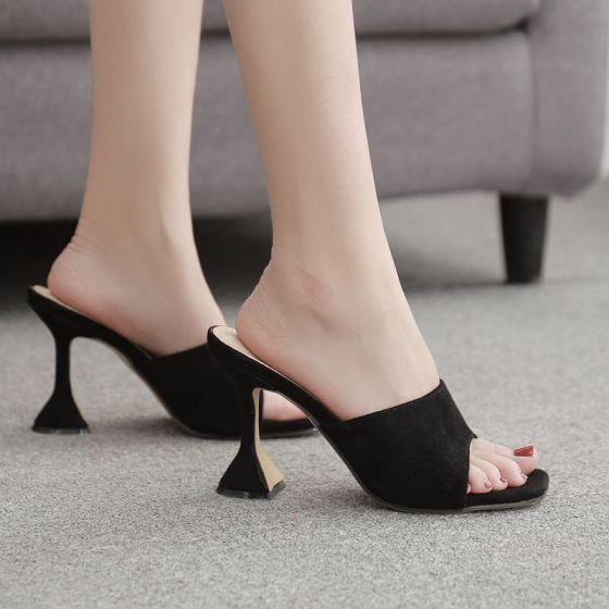 Chic / Belle Noire Désinvolte Sandales Femme 2020 9 cm Talons Aiguilles Peep Toes / Bout Ouvert Sandales
