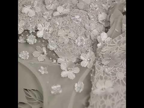 Modern Grijs Doorboord Avondjurken 2018 Imperium Ronde Hals 1/2 Mouwen Appliques Bloem Rhinestone Rechter Trein Ruche Ruglooze Gelegenheid Jurken