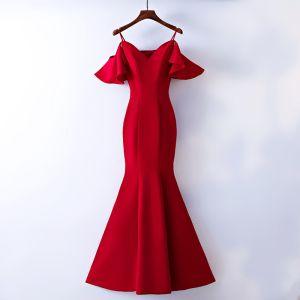 Chic / Belle Rouge Robe De Soirée 2017 Trompette / Sirène Bretelles Spaghetti Bustier Dos Nu Manches Courtes Longueur Cheville Soirée