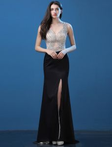 Robe De Soirée Sexy 2016 Sirène Profonde Perlage V-cou Strass Divisé Avant Robes De Soirée Noire