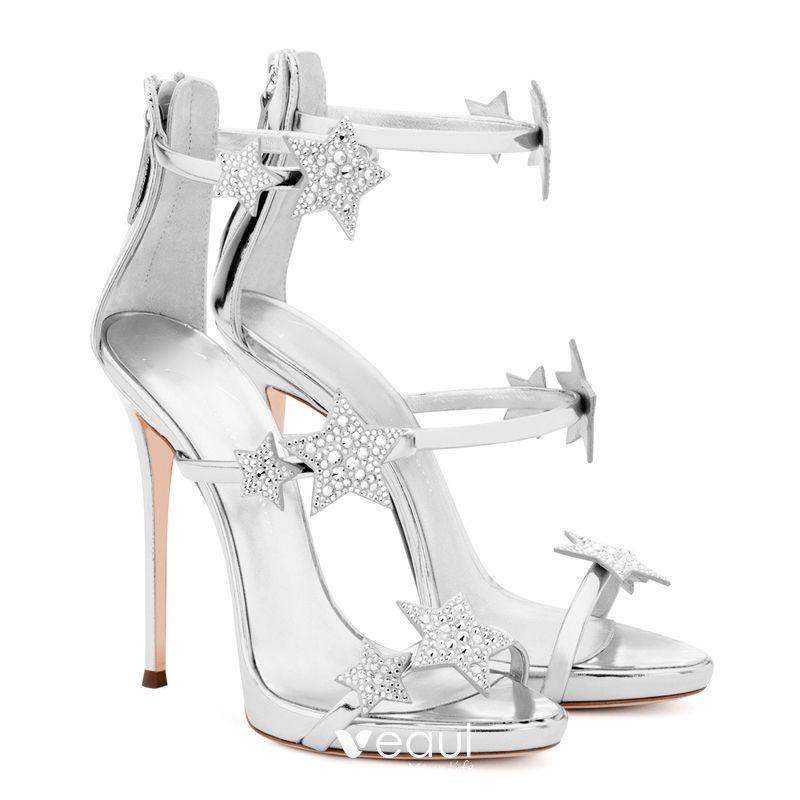 Femme Talon Aiguille Haut Lanière Fermeture Éclair Fête Soirée Sandales Chaussures Taille
