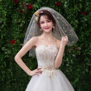 Błyszczące Bling Bling Złote Ślub Aplikacje Koronkowe Tiulowe Krótkie Welony Ślubne 2019