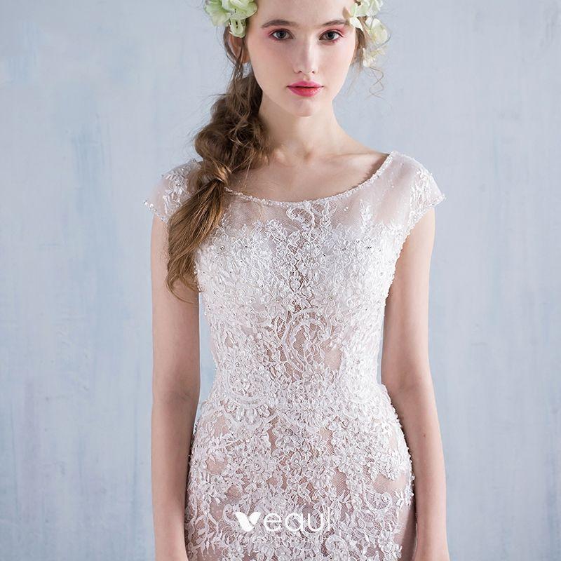Wedding Dress White Glitter: Modern / Fashion A-Line / Princess Beach Wedding Dresses